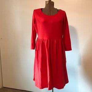 Burnt Bright Red Maternity Babydoll Dress